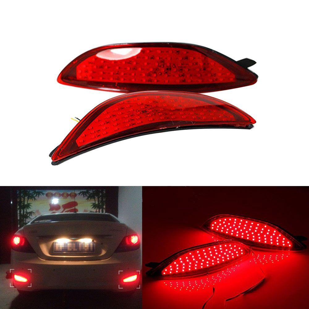 2pcs Red Lens Led Rear Bumper Reflector Light Tail Brake Parking Warning Lamp Fog Lights Bulbs For Hyundai Accent 2008 2015 Reflectors Lights Hyundai Accent