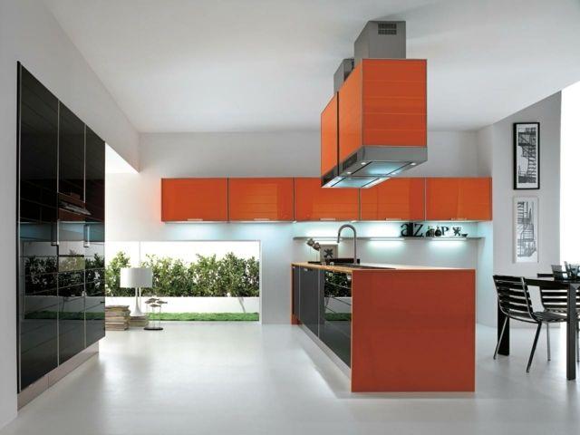 Gestaltung Küche orange küche abzugshuaben modern gestaltung ideen beispiele
