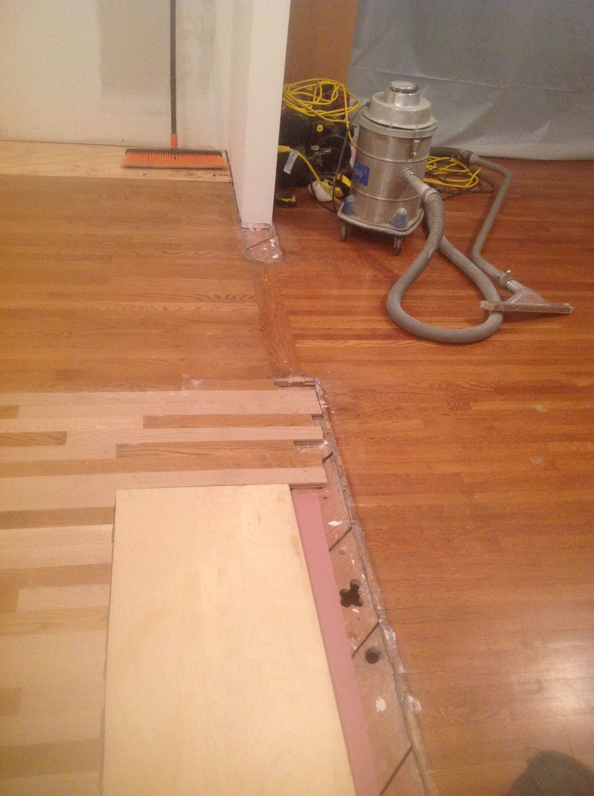 Next I Will Install A 1 X8 Ripped To Width Perpendicular To The Floor Boards Then I Start Sanding Kitchen Remodel Floorboards Sanding