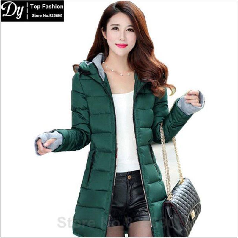 Womens Fashion Fur Collar Hooded Slim Long Coat Girls Casual Winter Padded Coats