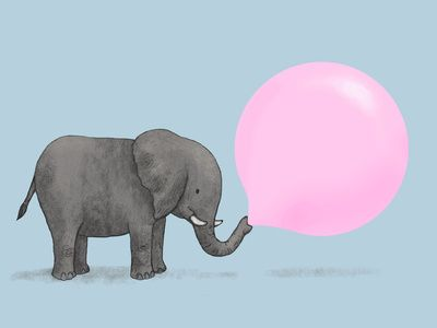 LOVE this! It's the kid in me, I guess. Pink bumble gum and elephants, how can you go wrong.