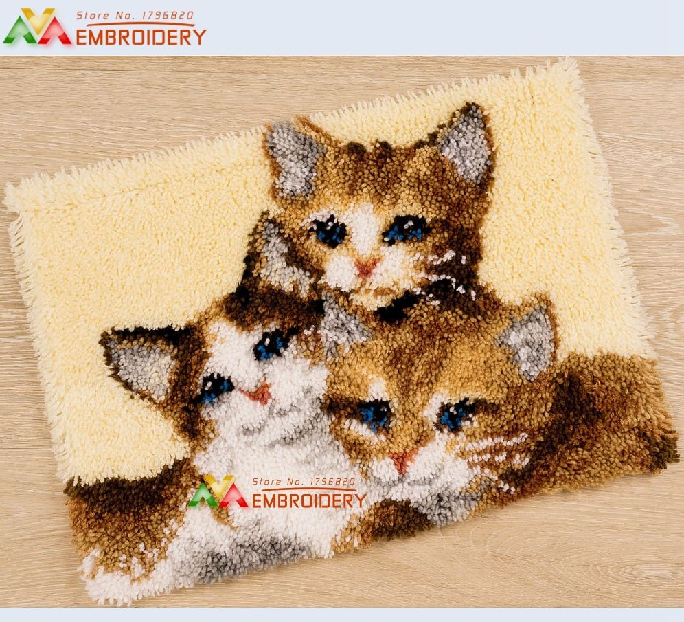 "Latch Hook Kit Cushion Cover DIY Needlework Crocheting Embroidery Kit 17/"" by 17/"""