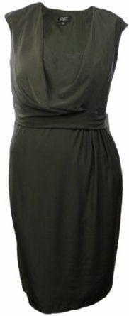 Adrianna Papell Womens Draped Front Dress Khaki Green (14W),