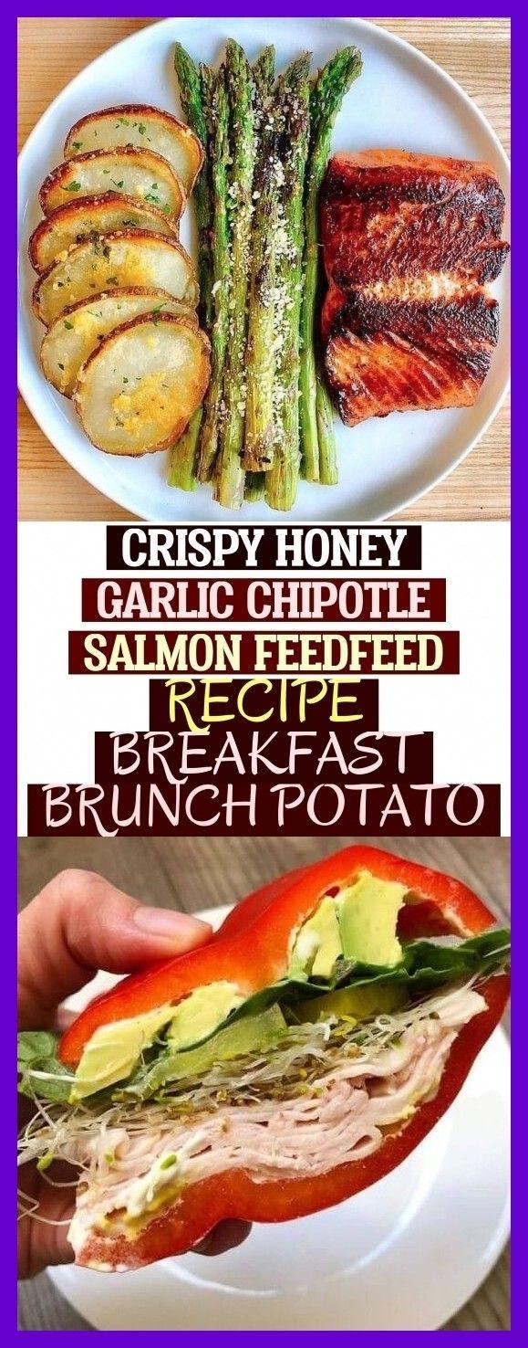 Crujiente Miel Ajo Chipotle Salmón Alimento Receta Desayuno Brunch Patata # kn …