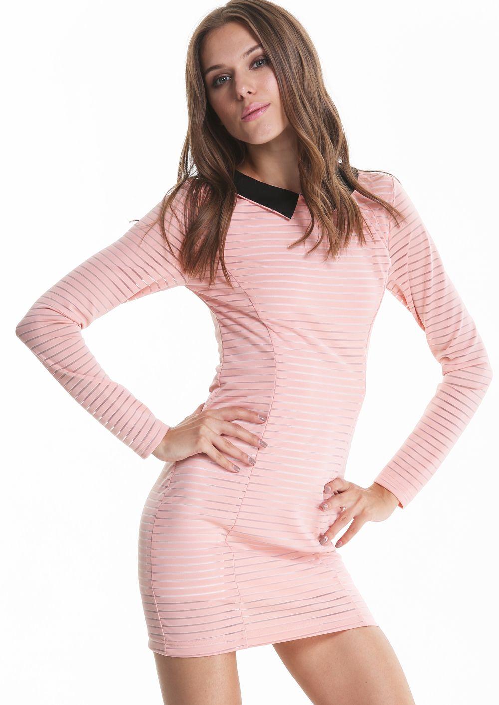 Vestido Bodycon rayas manga larga-Sheinside   Vestidos   Pinterest ...