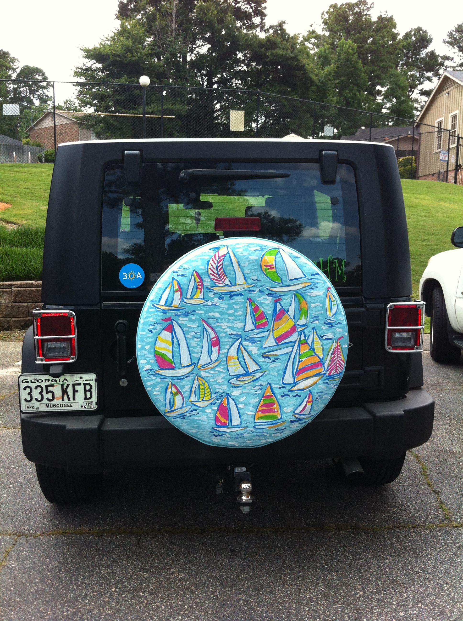 Lilly Pulitzer Custom Painted Jeep Spare Tire Cover Photo