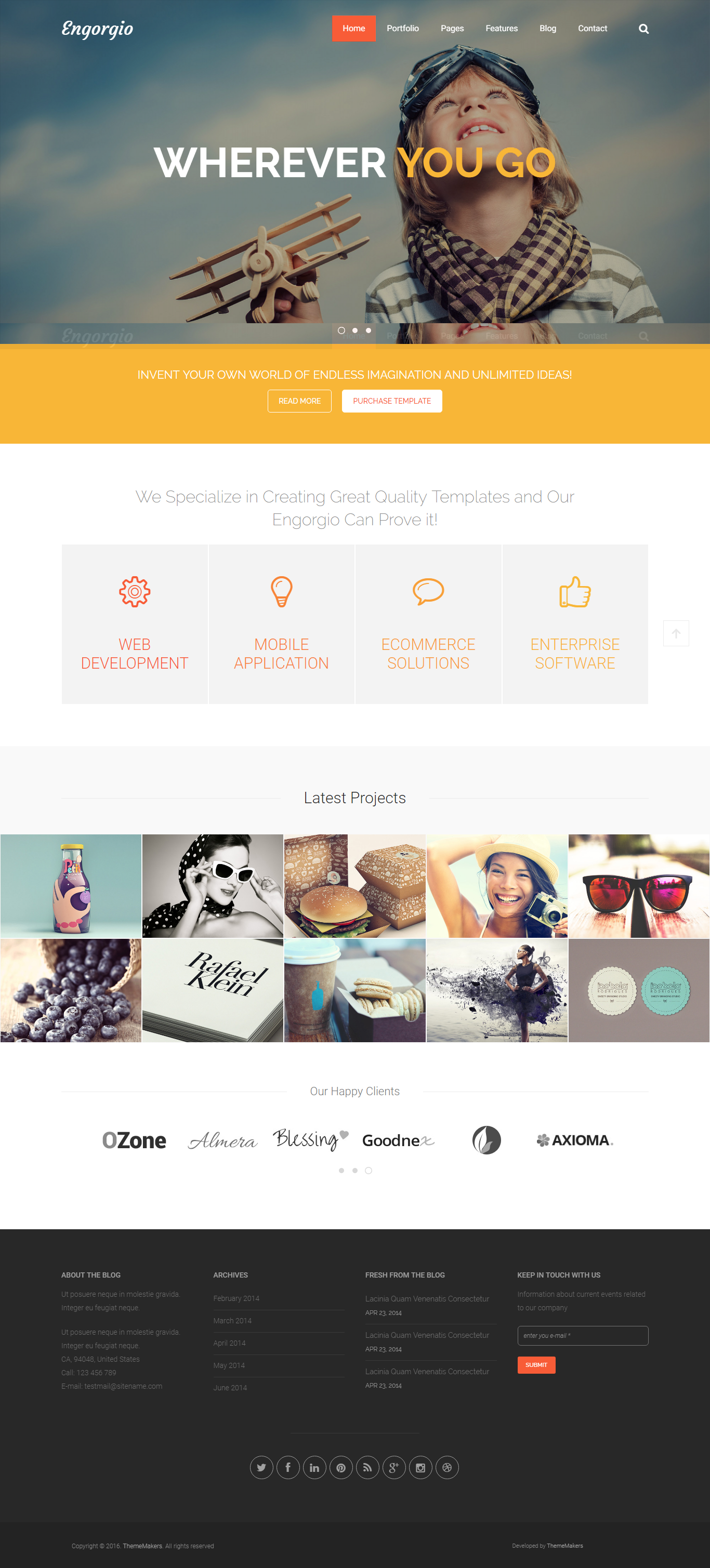 Engorgio Web Design Agency Responsive Site Template Agency Business Clean Creative Gallery Masonry Mod Agency Website Design Template Site Web Design