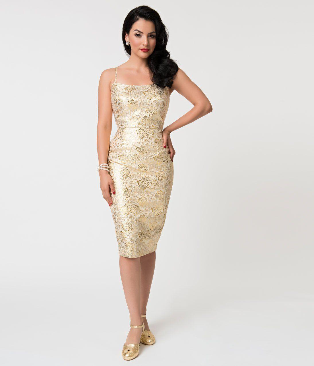 5158ca42cf0 Barbie x Unique Vintage Golden Girl Brocade Sheath Dress in 2019 ...