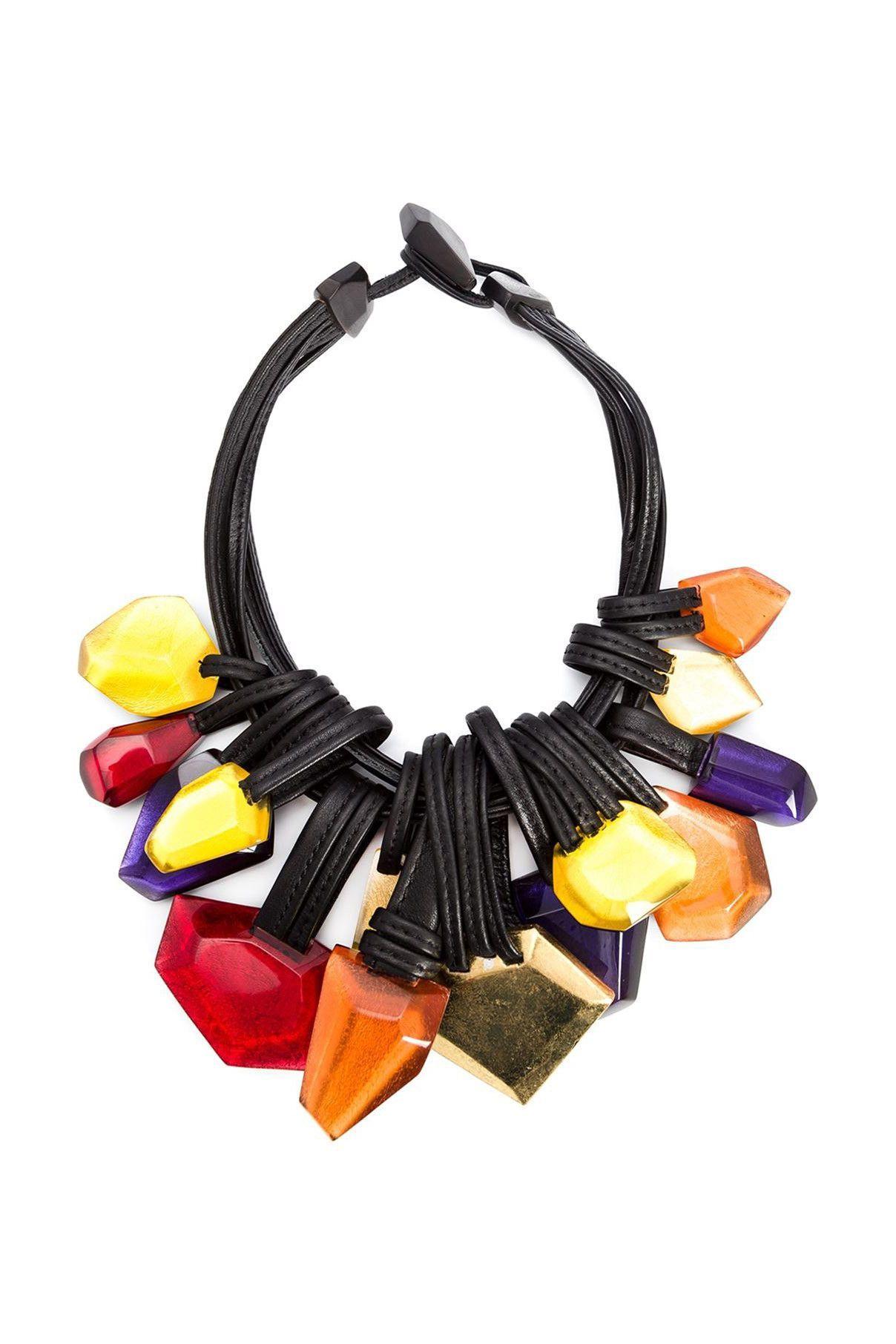 Monies Unique cable necklace - Yellow & Orange TtJgvv