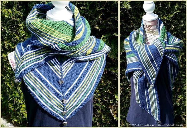 Dreieckstuch mit Streifen und tollem Muster gleich stricken: Super ...