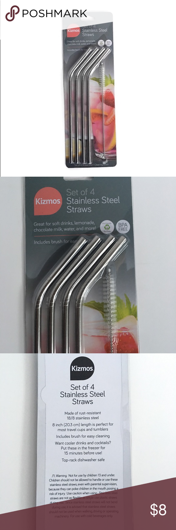 Kizmos 4 Set reusable straw  1 cleaning brush Reusable straws protect your teeth And prevent discoloration from dark colored drinks like soda coffee wine that stain and e...