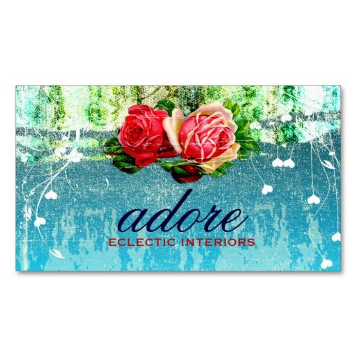 GC Adore in Roses Vintage Turquoise Blue Business Cards