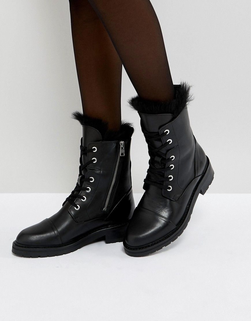 ALLSAINTS LACE UP SHEARLING BOOTS