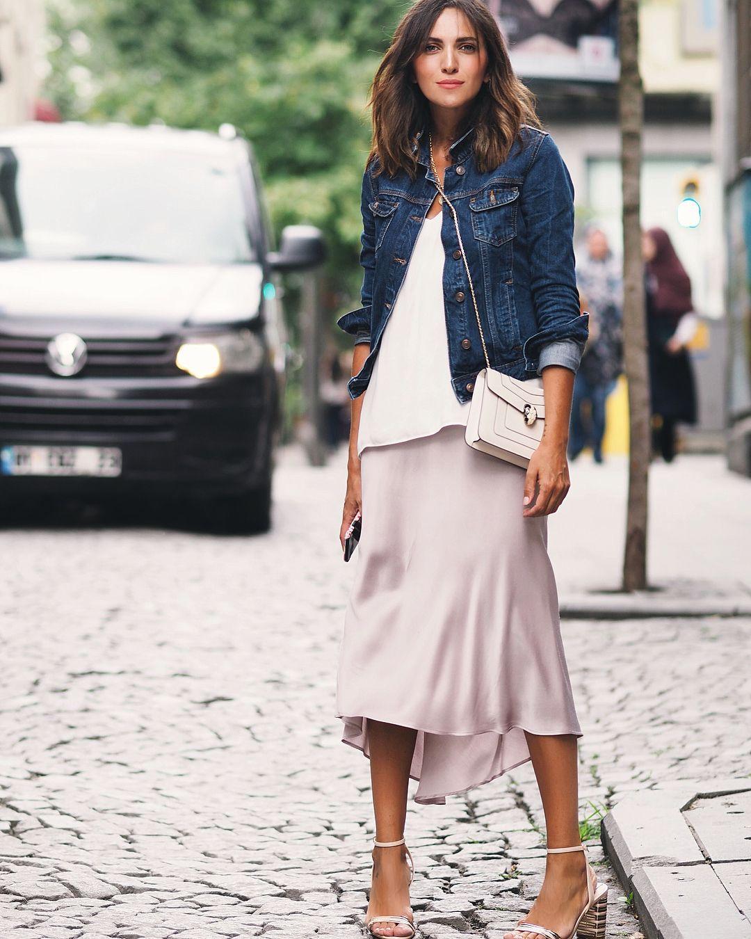 Denim Jacket + Satin Midi Skirt | Clothes, Midi skirt, Satin midi skirt
