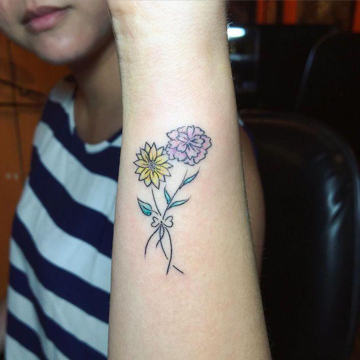 2ba4556d3 Sunflower and Carnation Tattoo | tattoos | Carnation tattoo, Flower ...