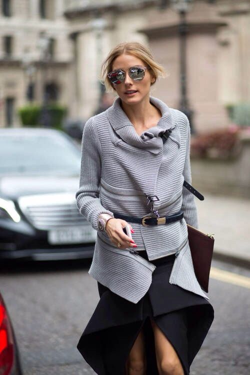 873296568867 womens street style fashion  Olivia Palermo zip knitted sweater cardigan