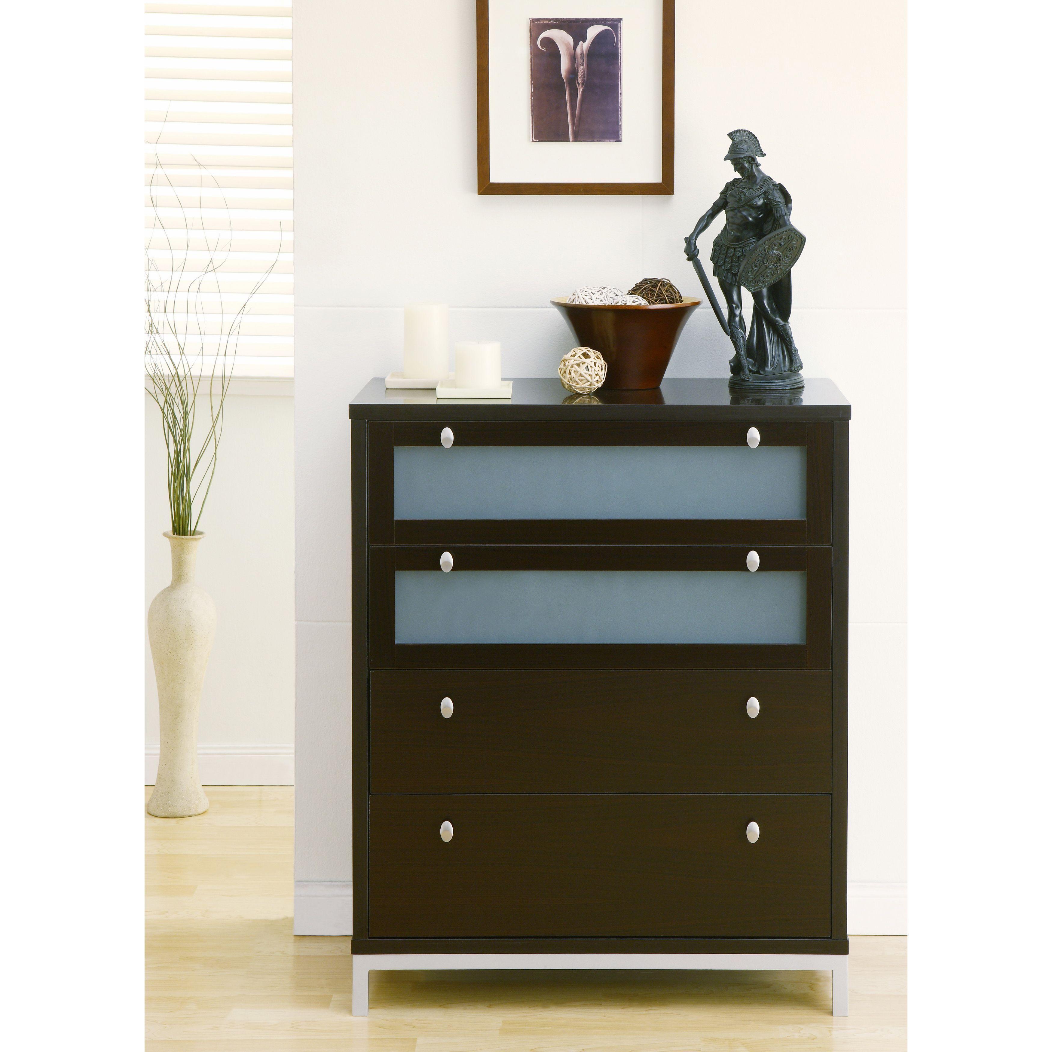Furniture of america modern drawer wood metal chest coffee bean