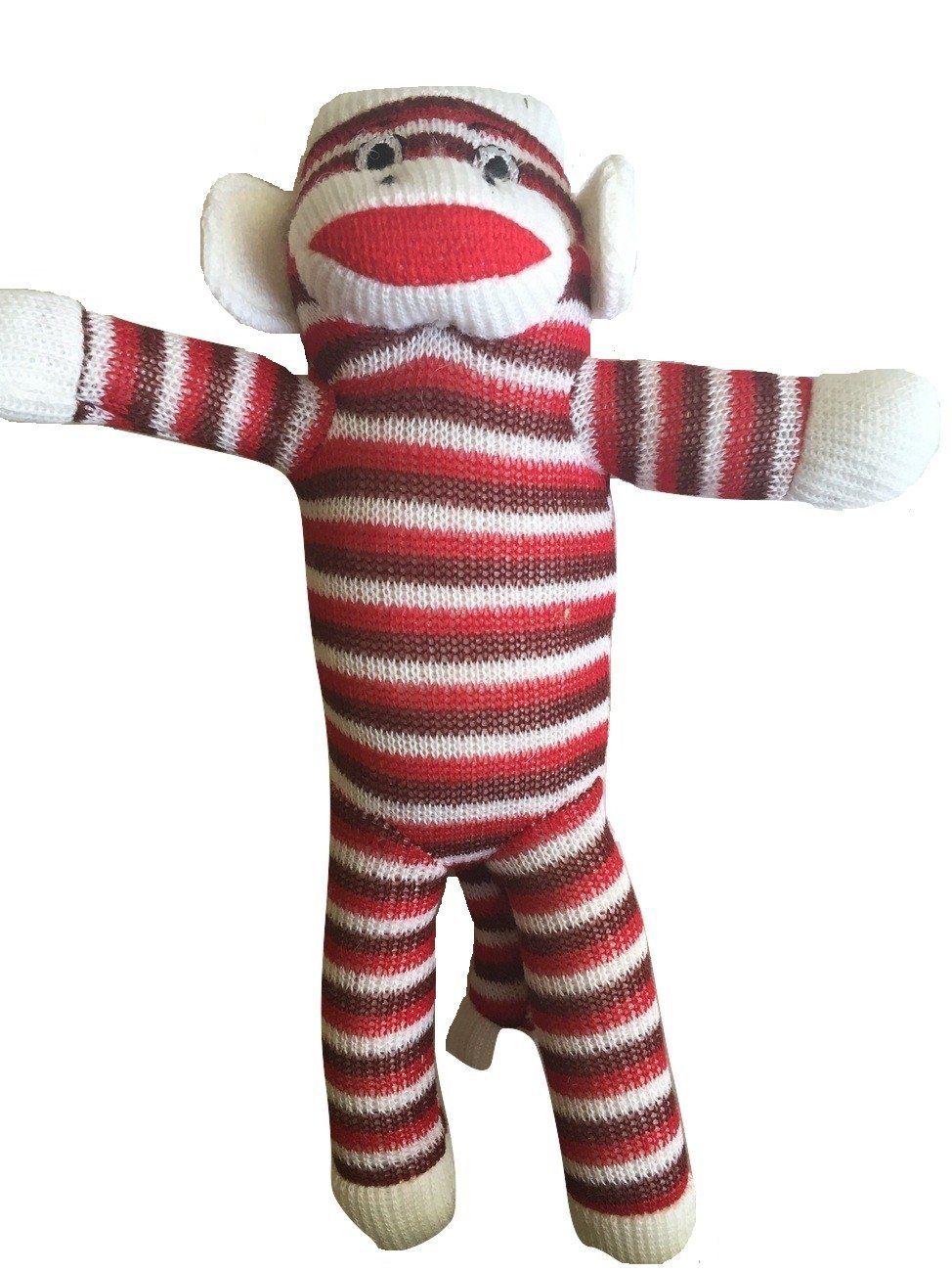 Pet Qwerks 10' Red and White Stripe Sock Monkey Poppy