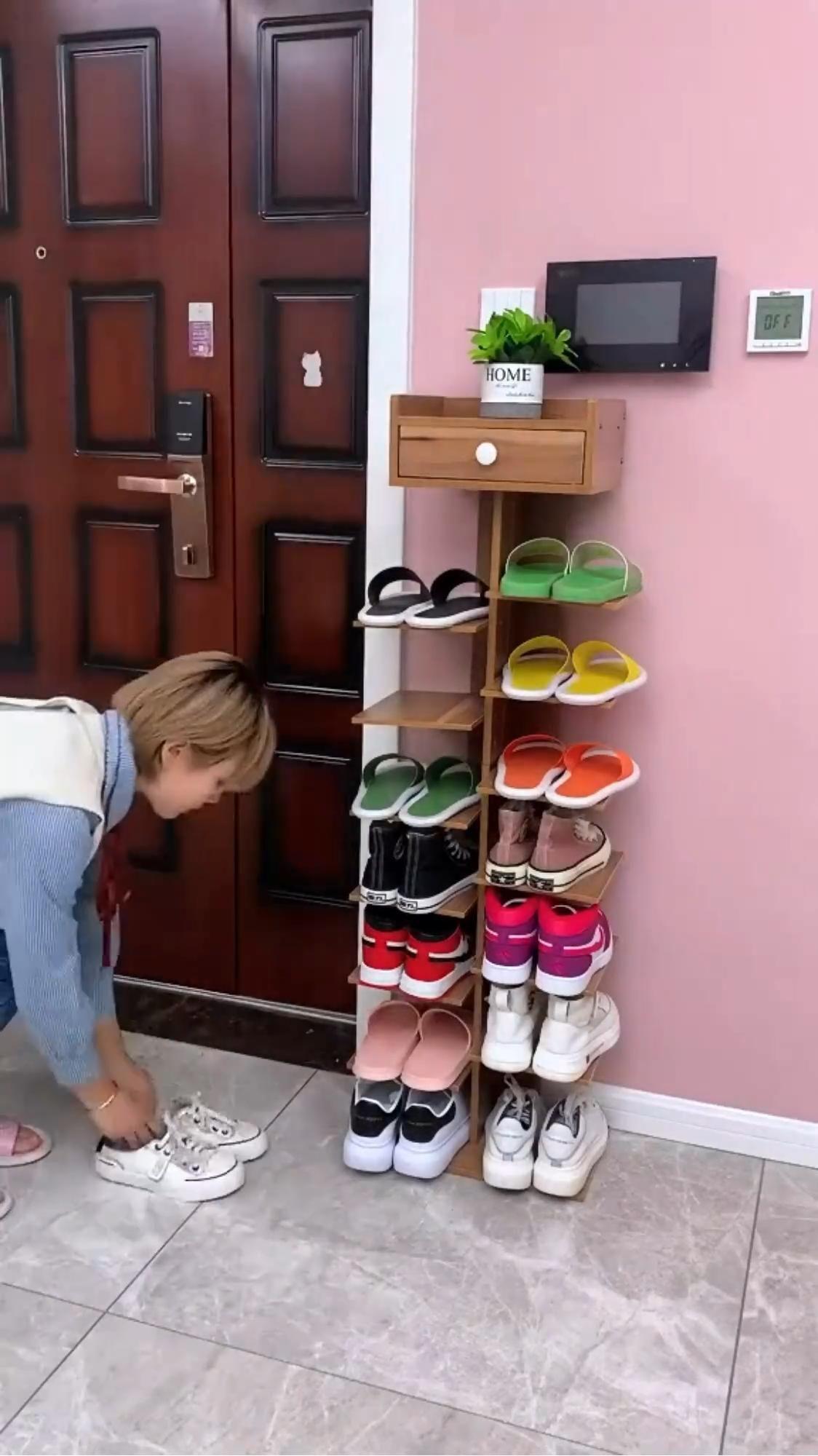Wooden Shoe Rack, Sturdy Multifunction Shoe Organi