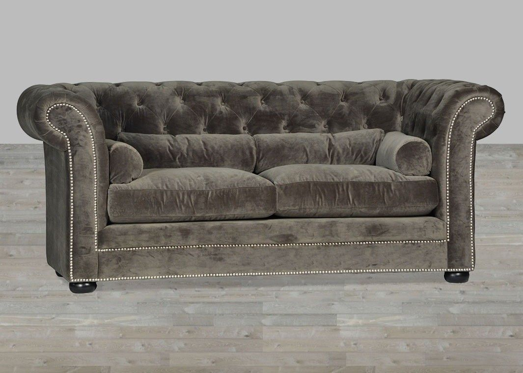 Awesome Grey Velvet Sofa Chesterfield Style Silver Button ...