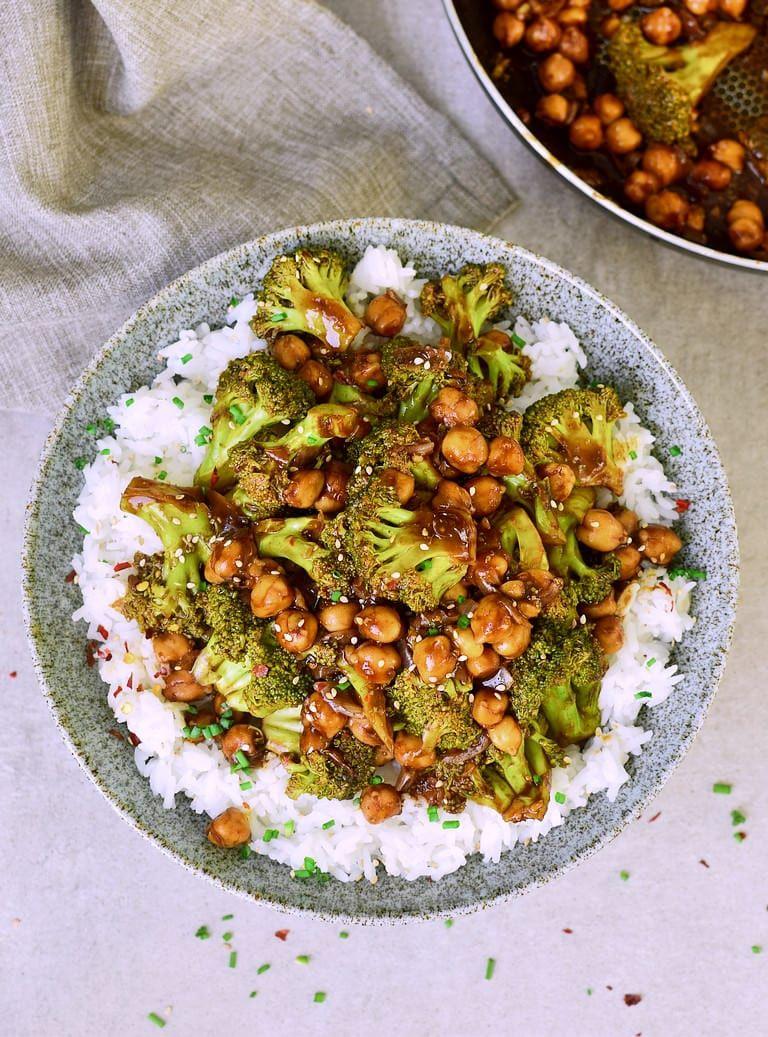 Photo of Simple broccoli pan with chickpeas and rice (vegan) – Elavegan