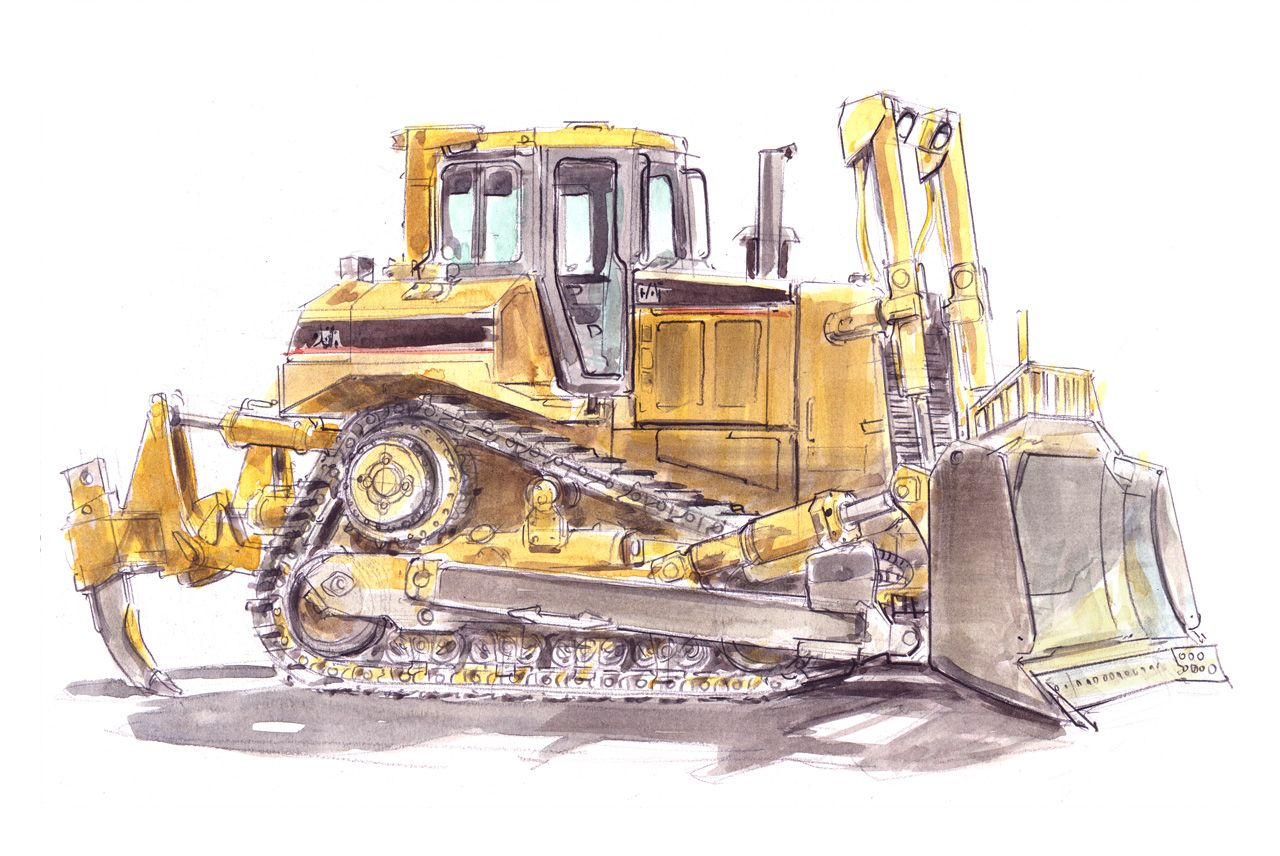 Paintings of heavy equipment tracks dirty shovel bit highway 99 aurora construction equipment