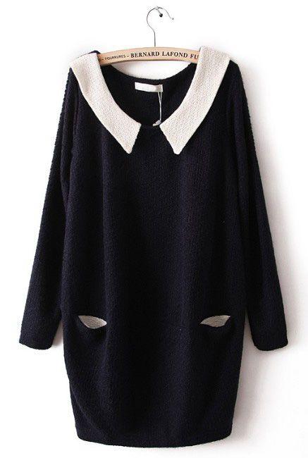 Navy Contrast Collar Long Sleeve Pockets Dress - Sheinside.com