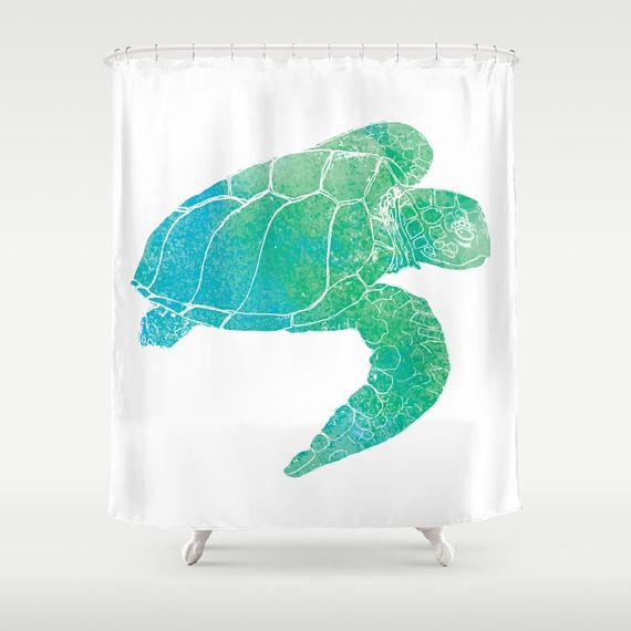Sea Turtle Shower Curtain Kemp S Ridley Watercolor Curtains