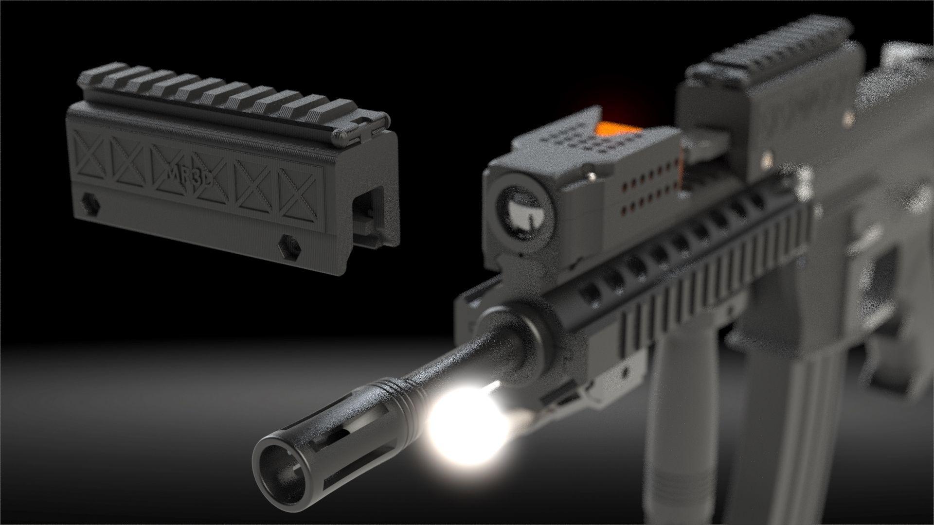 Custom 3D printed battery railmounted case for airsoft gun