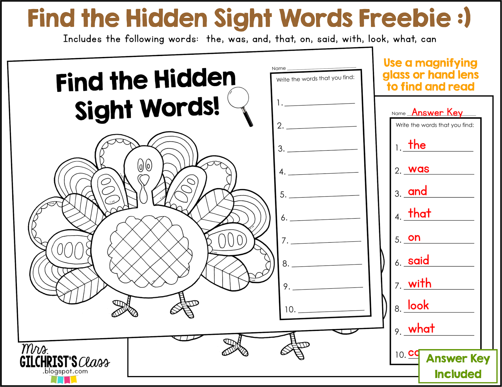 A Thanksgiving Freebie Find The Hidden Sight Words