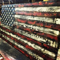 Distressed Rustic Wooden American Flag 4 Burnt By