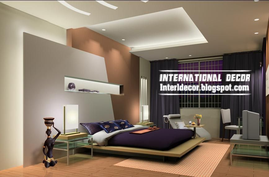 Modern Pop False Ceiling Designs For Bedroom Interior Gypsum