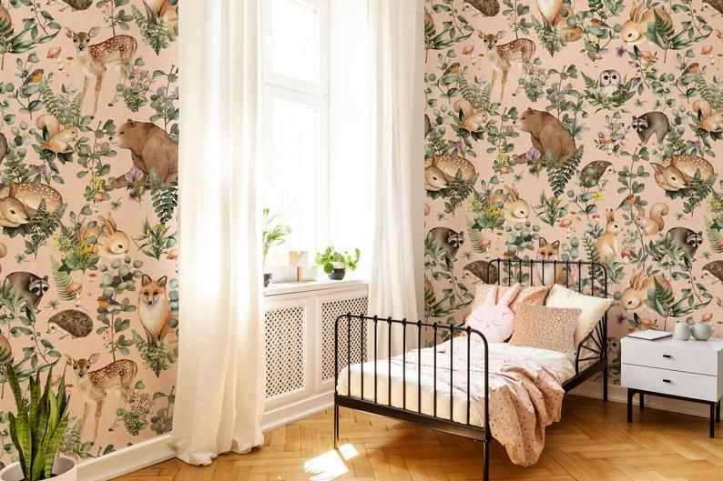 Whimsy Floral Mural Easy To Apply Removable Peel N Stick Or Prepasted Wallpaper In C Pastel Girls Room Floral Wallpaper Interior Paint Colors For Living Room