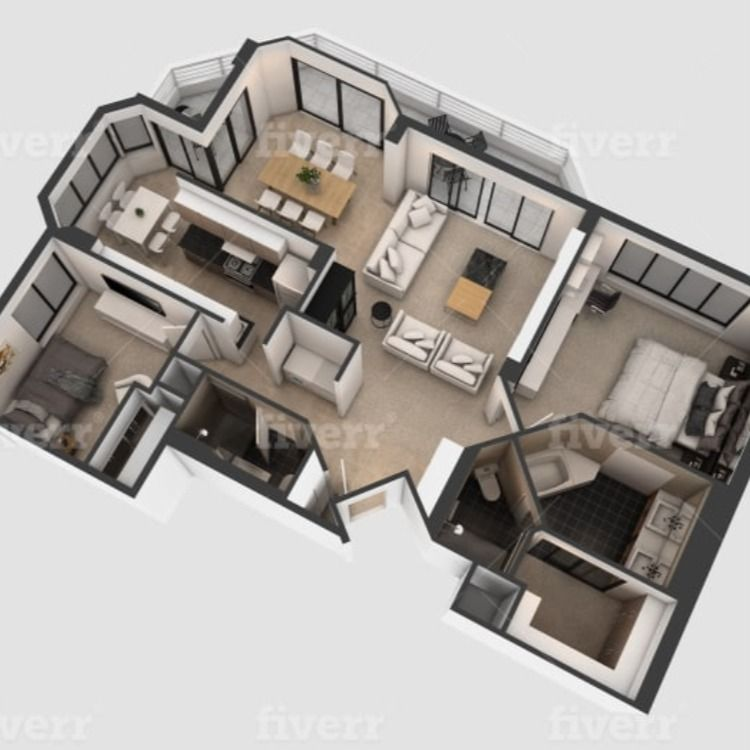 I Will Do Interior Exterior 3d Floor Plan Architectural Floor Plans House Design House Styles