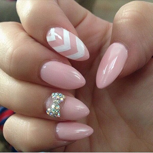 Baby pink and white bow nail art design perfect for you. If you're - 55 Bow Nail Art Ideas Bow Nail Art, Silver Rhinestone And Light