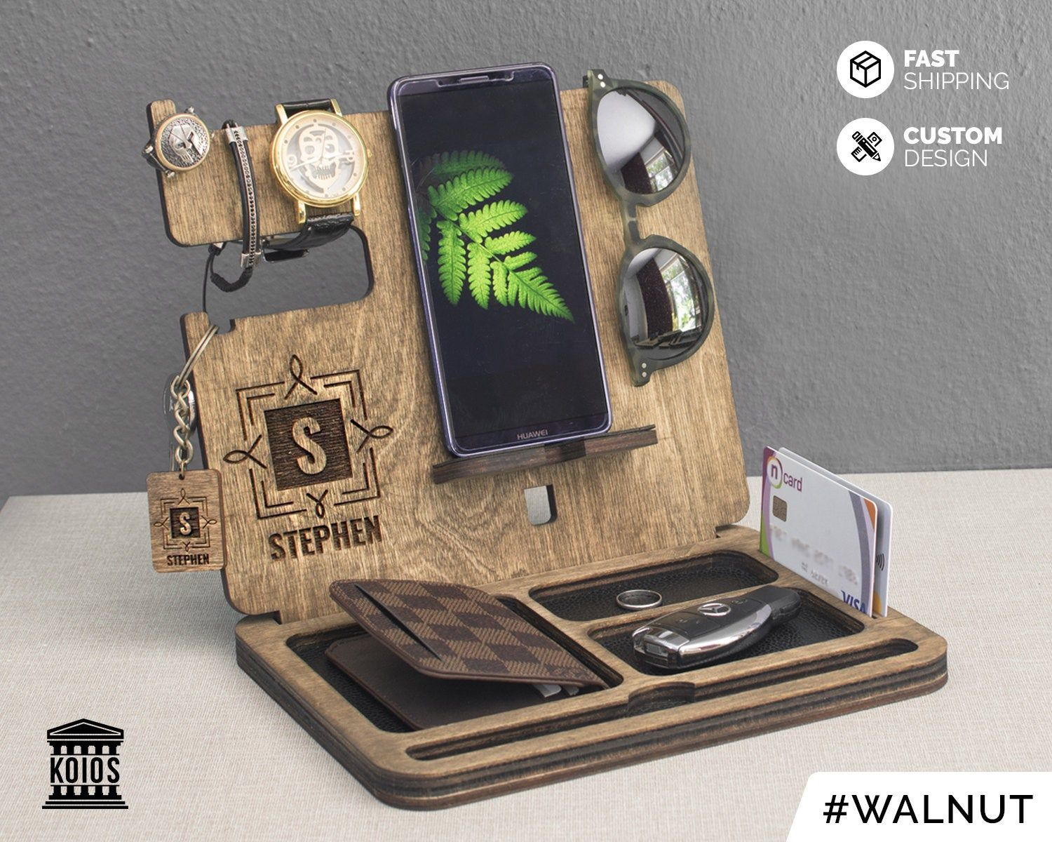 Christmas Gift for Men Solid Walnut,Docking Station,Men/'s Valet,Desk Organizer,Charging Station,Valet Tray,Personalized,iPhone.iPad,Apple