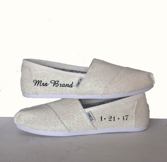 ae81171312735a Womens Sparkly White or Ivory Glitter Toms Flats shoes bridal Bride Wedding  Comfortable