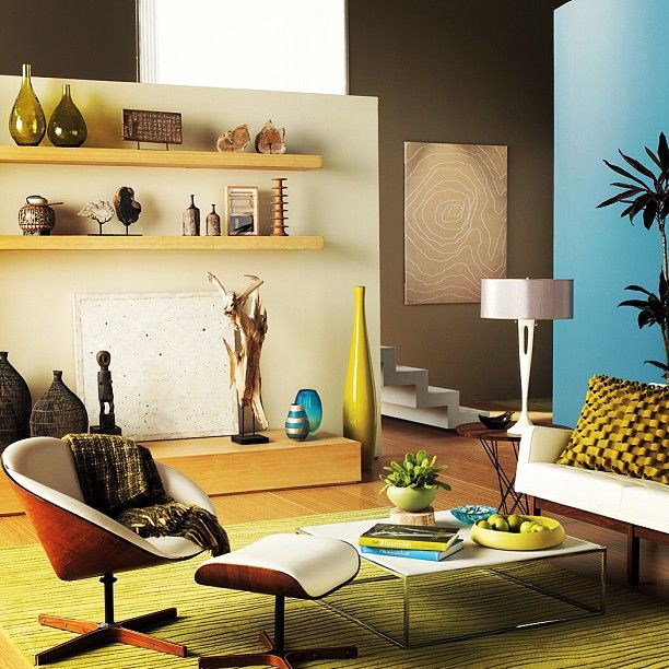 Add depth and character to your living room with a blue accent wall ...