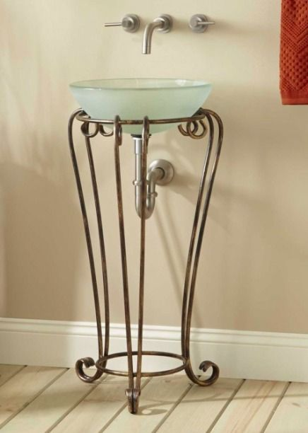 Charmant The Intricate, Handmade Detailing In This Curved Wrought Iron Vessel Sink  Stand Make It The Perfect Addition To Any Small Bathroom.