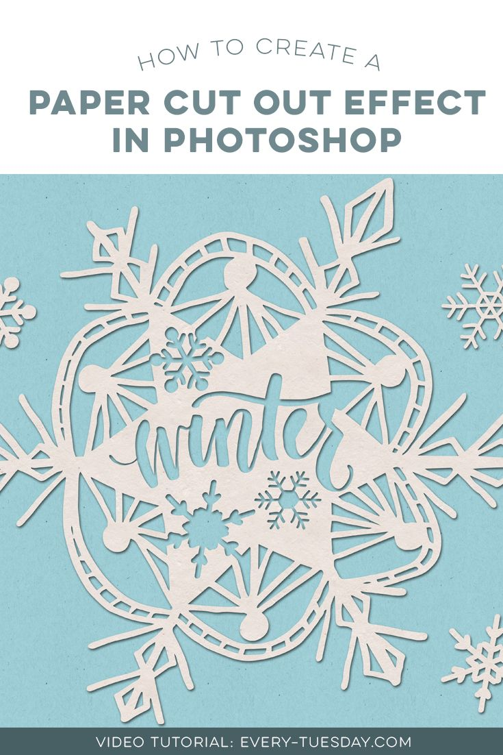 In This Tutorial We Create A Paper Cut Out Effect Photoshop Using Recycled Textures Hand Lettering And Vector Snowflakes