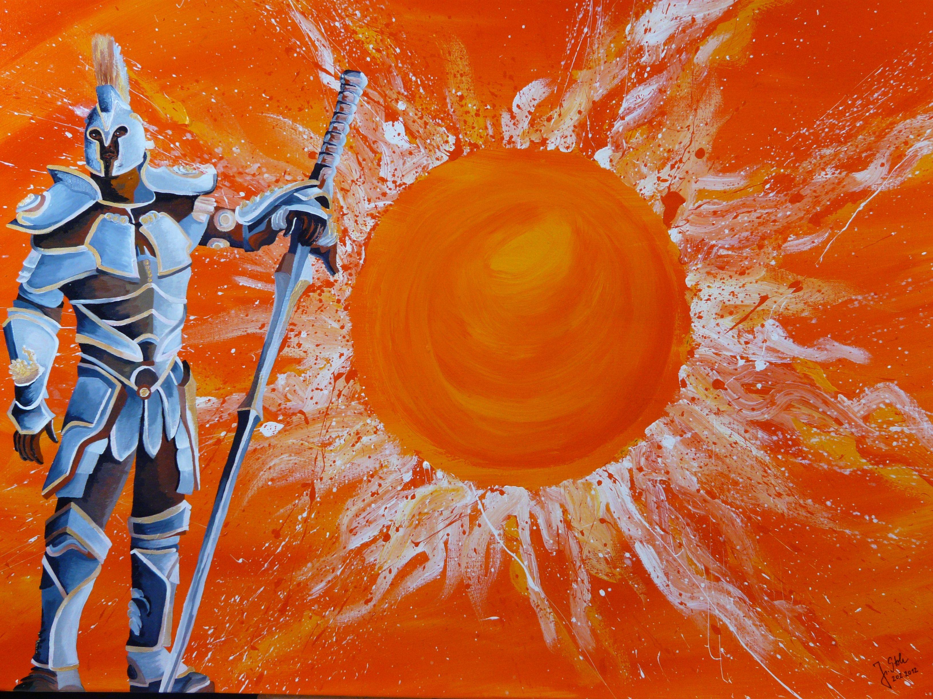 Sonnenkrieger, Acryl auf Leinwand, Glanzfirnis, 100cm x