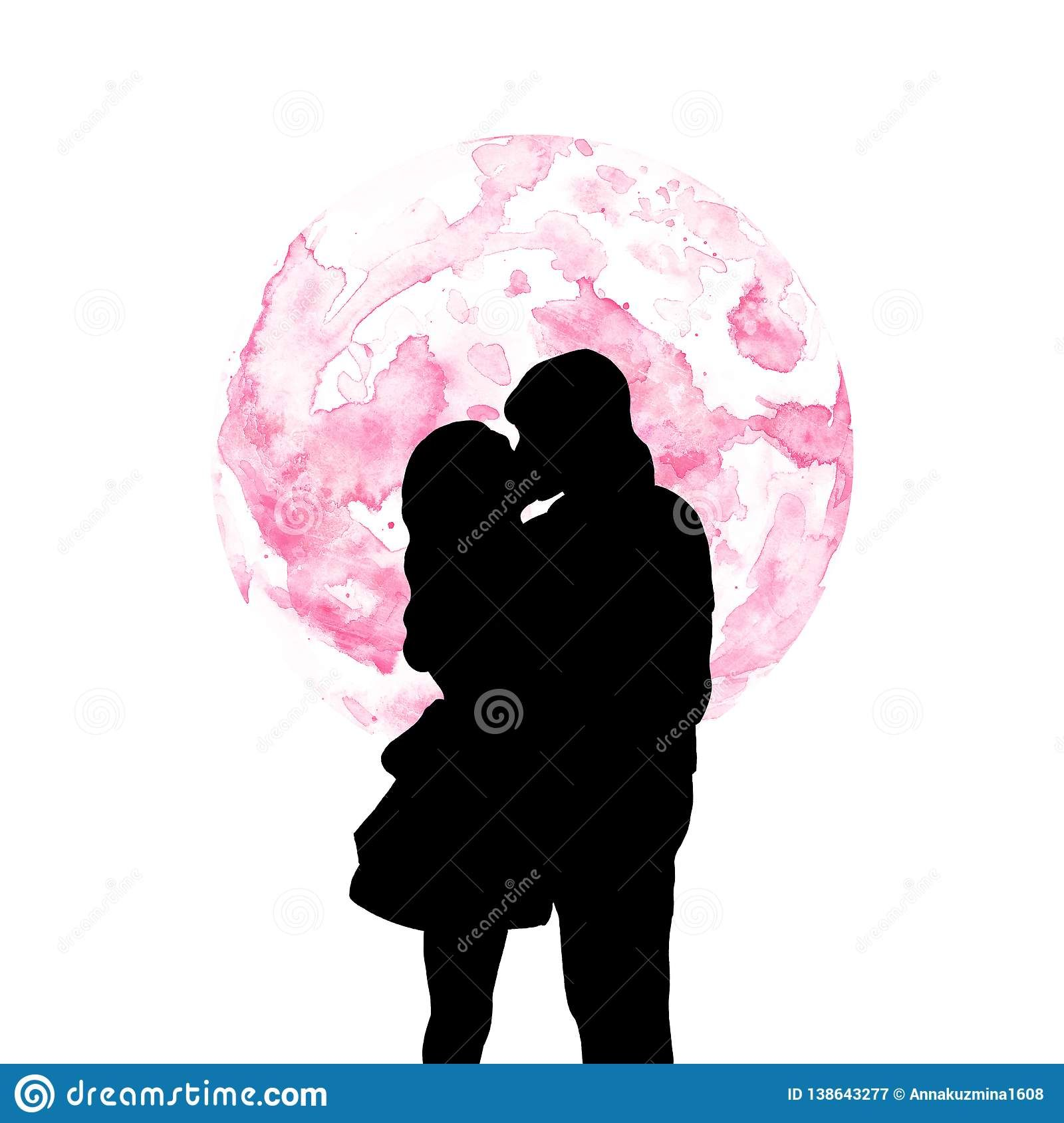 Hand Painted Silhouette Of Couple Kissing And Watercolor Pink Full