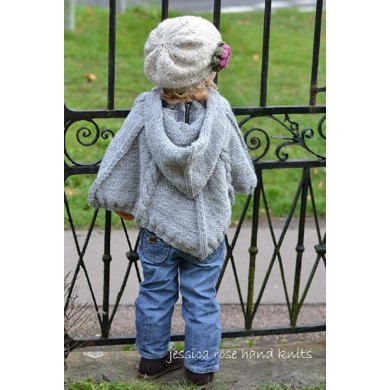 Jessica Rose Hand Knits collection by Linda Whaley. A Chunky Knit Cabled Poncho with a cosy hood for chilly days! A great design for babies and young children as you can slip it on and off easily when little ones are asleep in their buggy or car seat. The shape and size of this neat little poncho is designed so that little ones and play and use their hands freely and easily. If you prefer a longer poncho just knit the next size up. Knit this poncho flat on a pair of long single pointed ...