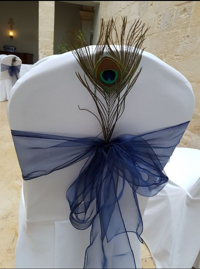 Navy Blue Wedding Tie Backs And Peacock Feather Wedding