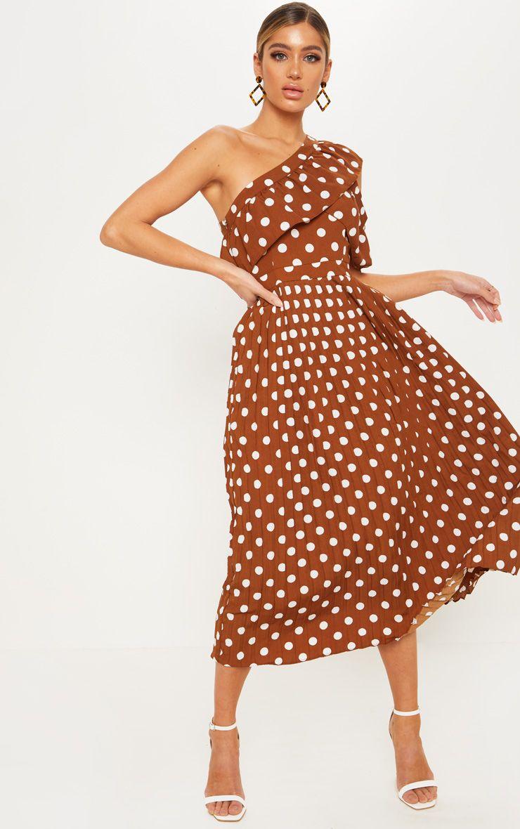 Chocolate polka dot one shoulder ruffle detail pleated
