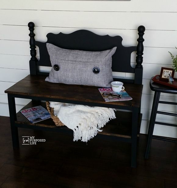 How to make a small black headboard bench that is perfect for an entryway or used as an end of bed bench.
