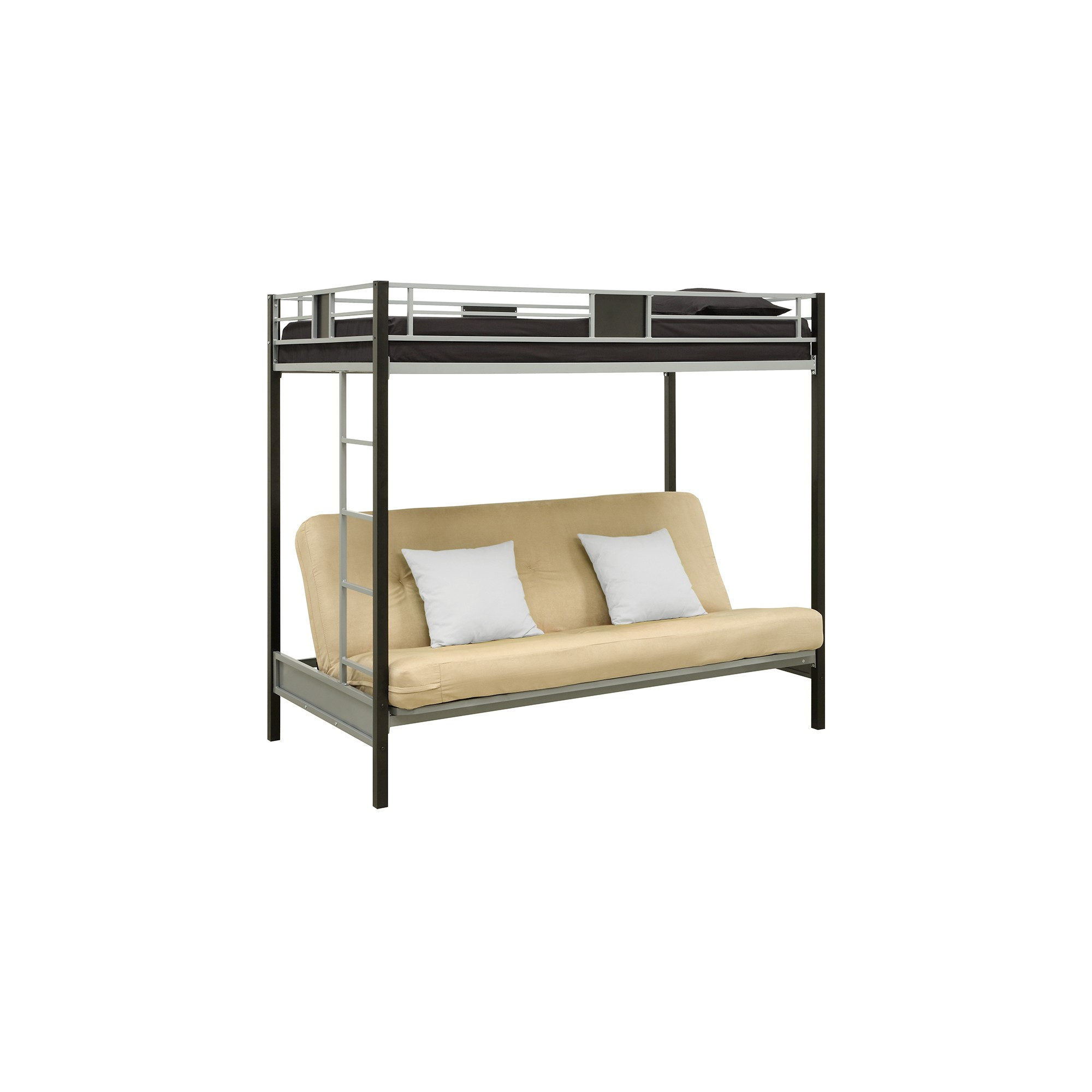 Dorel Home Products Silver Screen Twin over Futon Metal Bunk Bed