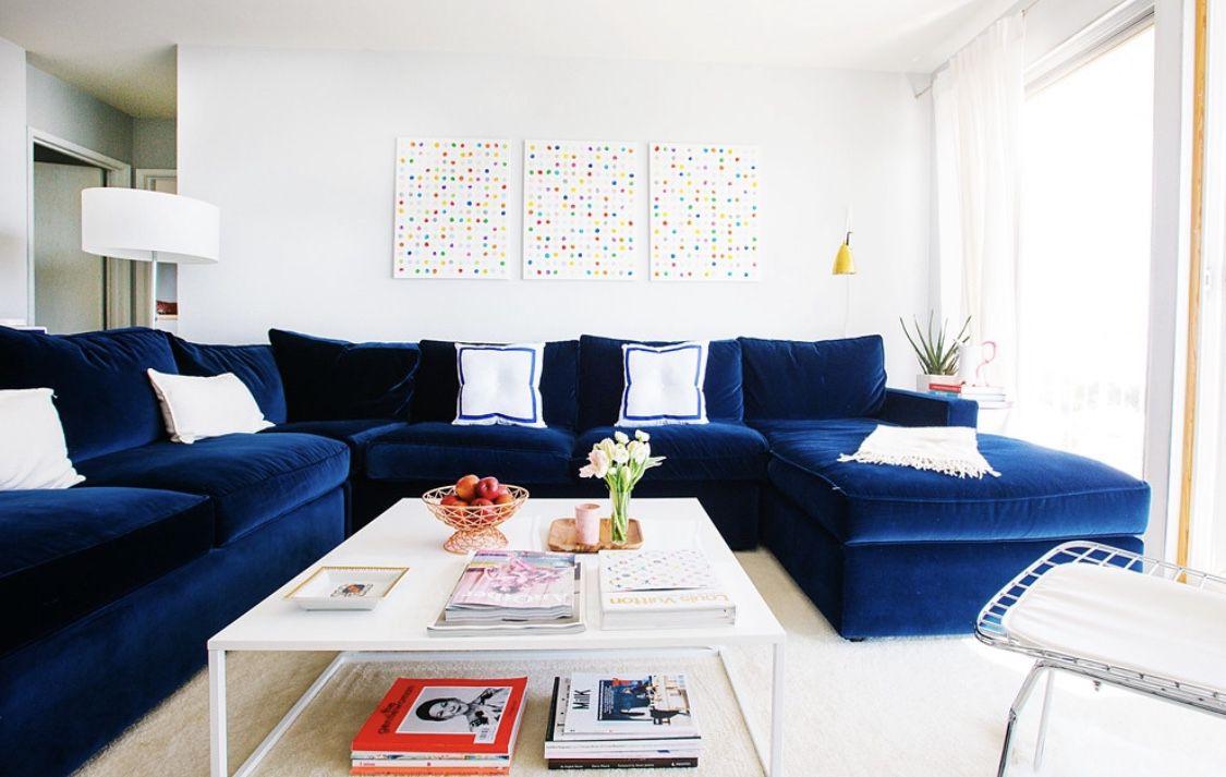 Navy Blue Velvet Sectional Blue Sofas Living Room Blue Living