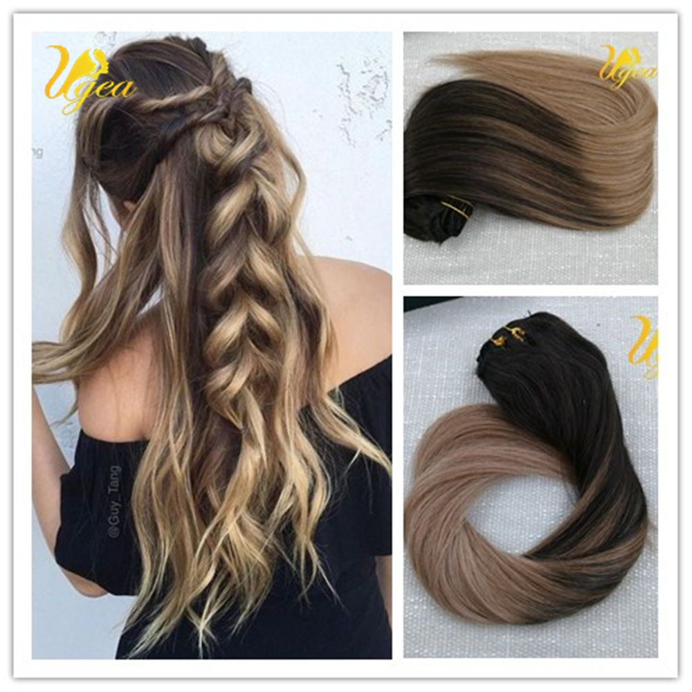8a balayage remy ombre thick blonde highlighted clip in human hair ombre balayage highlight remy real clip in human hair extensions thick 14 24 pmusecretfo Image collections