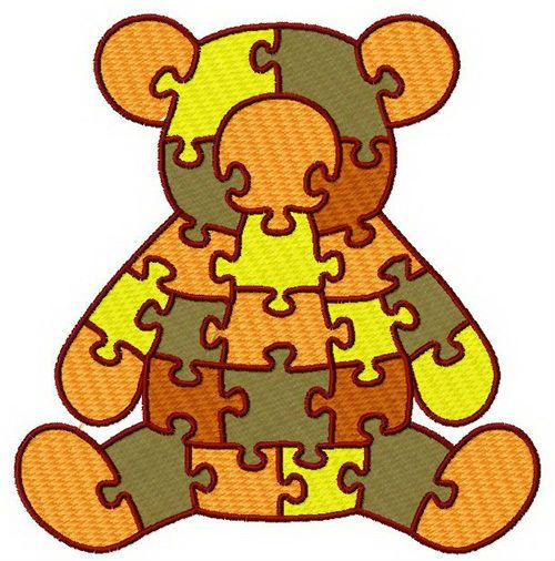 Bear puzzle machine embroidery design. Machine embroidery design. www.embroideres.com